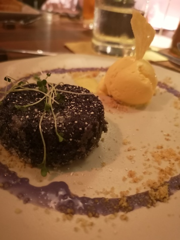 Ube & white choco lava cake with cheese ice cream (from Kanloan set) BEST SELLER!!! The only thing in the menu that always make a comeback